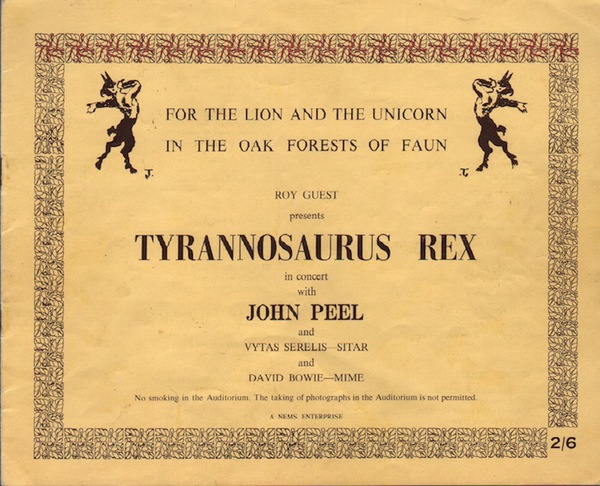 GUEST, Roy. Tyrannosaurus Rex in concert with John Peel and Vytas Serelis - Sitar and David Bowie - Mime.