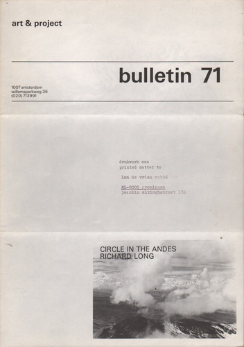 LONG, Richard.Bulletin 71: Circle in the Andes.