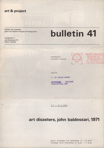 BALDESSARI, John. Bulletin 41: Art Disasters.