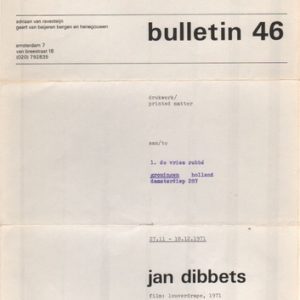 DIBBETS, Jan. Bulletin 46: Film: Louverdrape, 1971.