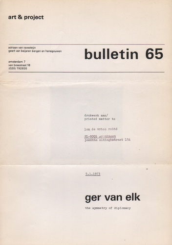 ELK, Ger van. Bulletin 65: The Symmetry of Diplomacy.