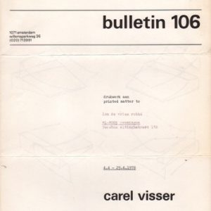 VISSER, Carel. Bulletin 106.